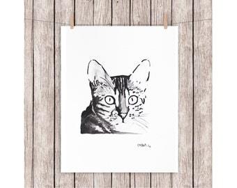 "ORIGINAL watercolor painting CAT A4 210 X 297 mm (8,3"" x 11,7"")"