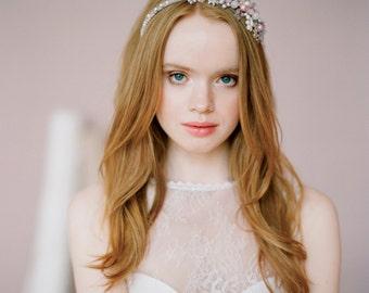 "Pink wedding dress ""Tori"" - Lace and tulle bridal gown, Sheer back wedding dress, Illusion lace wedding dress, Column wedding gown, Milamira"