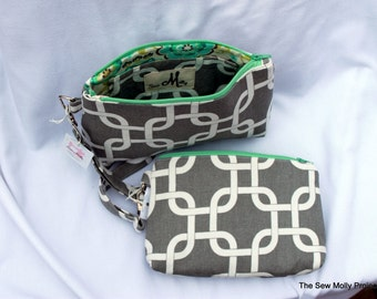 Square Bottom Gray and Mint Wristlet ***Large***