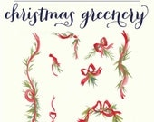 Red and Green Christmas Pine wreaths greenery garlands ribbons and bows hand painted watercolor clipart-INSTANT DOWNLOAD DIY