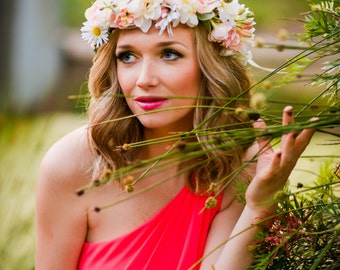 Pink and white flower crown, Flower headband, headband, wedding flower crown, bridal flower crown, bohemian flower crown,dainty floral crown