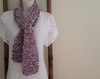 Purple and White Marl Knit Scarf