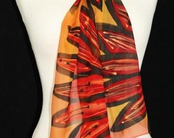 Orange, Red, Black Hand Painted Silk Shawl. Handmade Chiffon Silk Scarf SUNRISE DAISIES. Size 8x54. Birthday, Bridesmaid Gift