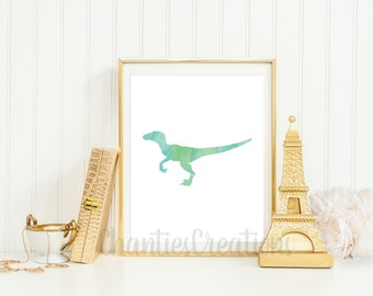 Velociraptor Watercolor Wall Art Printable. Printable Dinosaur Wall Art for Little Boys Room. Raptor Dinosaur Printable