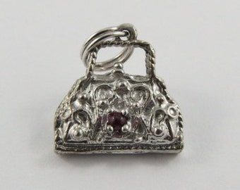 Purse With Pink Stones Sterling Silver Vintage Charm For Bracelet