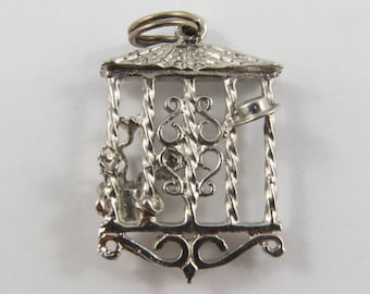 Front Hall/Gate With Flower Pot and Hat Sterling Silver Vintage Charm For Bracelet