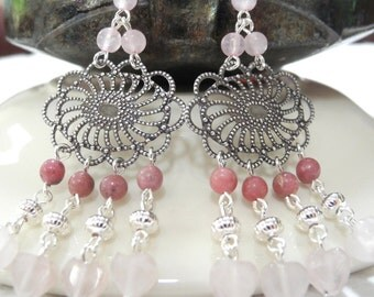 Gemstone Chandelier Earrings, Bohemian Earrings, Chandelier Earrings, Rose Quartz and Rhodonite Earrings