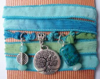 Tree of Life  silk wrap bracelet/Chrysocolla,Brazilian Aquamarine.Colours of the sea,Yoga bracelet