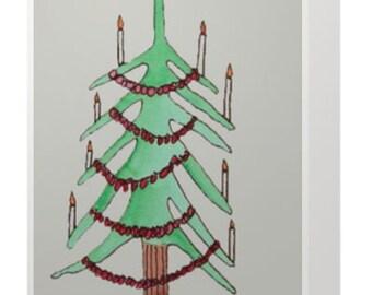 Spindly Christmas Tree Holiday Greeting Card