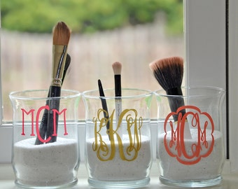 personalized glass makeup brush holder with filling
