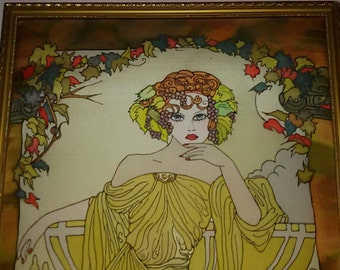 Mucha / framed silk painting / Art Nouveau / Mucha silk painting / Vintage 60s