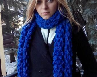 Chunky scarf, Knitted scarf, Bulky scarf, Blue knit scarf, Knitted women scarf, Blue chunky scarf, Winter scarf, Oversized scarf, Knit scarf