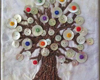 Button Tree Fiber Art, Whimsical Wall Art, Fabric Art, Button Art, Home Decor, Gift Idea, 8 x 10