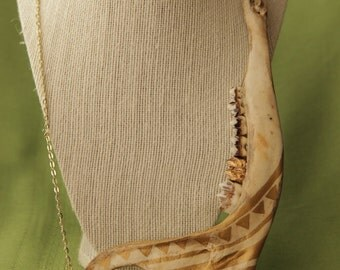 Bone 33- Deer Jaw bone with bohemian painting and Gold Leaf Tooth Witch Oddity