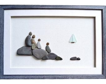 Family gift, Pebble Art Family of five, New home housewarming gift, Nautical theme home décor, Sea glass art, Family framed wall art, 3D art
