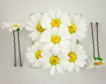 Daisy flowers accessories White flowers for hair accessories Daisy hair clip Wedding hair pins Wedding hair flowers headpiece Floral pins