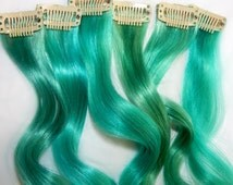 Teal Human Hair Extensions, Clip In Hair Extensions, Turquoise Hair, Teal Hair, Hair Extensions, Hair Wefts, Clip Ins