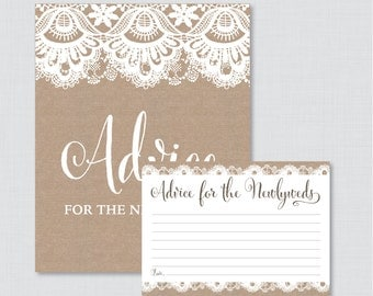 Advice for the Newlyweds Bridal Shower Activity - Printable Burlap and Lace Bridal Shower Advice Cards and Sign - Rustic Bridal Shower 0003