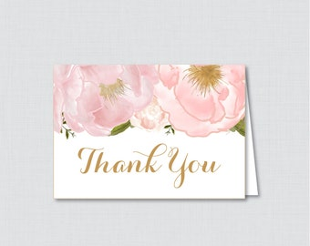 Printable Pink Floral Bridal Shower Thank You Card - Blush Pink and Gold Flowers Garden Bridal Shower Thank You Card - 0007