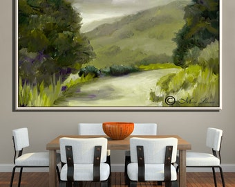 Modern Wall Art, Large Wall Art, Office Art Original Oil Paintings on Canvas, Extra Large Wall Art Green Painting, Large Painting
