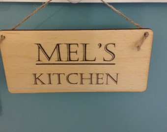 Wooden Kitchen sign with name of your choice