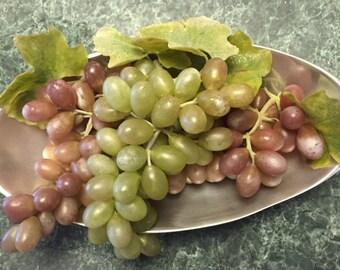 Vintage plastic grapes, faux fruit, plastic fruit decor, midcentury plastic grapes, Midcentury Modern Fruit Decor, Retro Faux Grapes