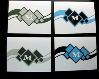 Abstract Shapes Blank Cards Set of Four Ready for an Initial