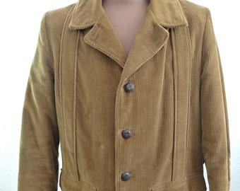 Vintage 60's 70's Men's Corduroy Jacket Coat Brown Tan Towncraft Medium