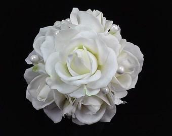 White Rose Bridal Toss Bouquet-Silk Flower Bridal Toss Bouquet-Toss Away Bouquet