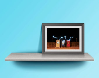 cute robot colourful long exposure photography print