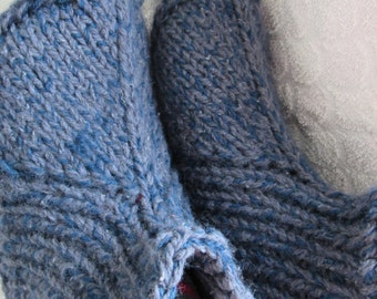 Heather blue hand knit slippers,sheep wool,mohair bed socks. UK 4-8,US 5-9.