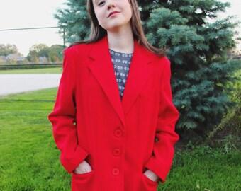 Vintage 1980s Bright Red White Stag Blazer - Wool with Front Waist Pockets, Size Medium