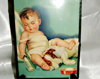Vintage 1940's Charlotte Becker Print Baby sleeping with Dog & Empty Bottle