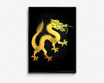 Asian, Dragon, Chinese, Chinese New Year, Traditional, Gold Foil, Print, Printable, Art, Home, Decor, Lucky, Gifts