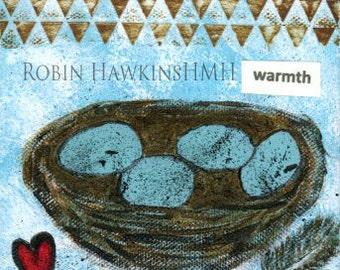 bird nest, blue, eggs, mixed media, small art, nest,