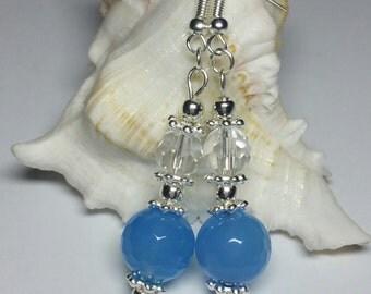 Blue Glass Beaded Hook Earrings, Silver Handmade Costume Jewellery, Silver Minimalist Earrings under 15, Blue Dangle Drop Earrings