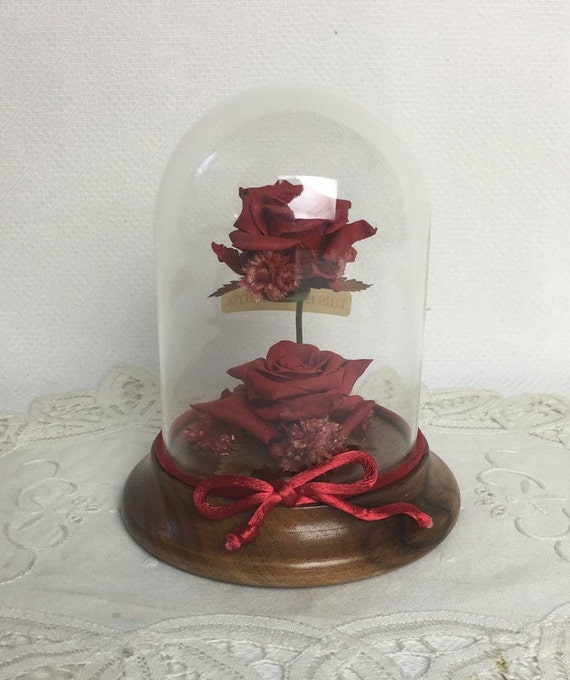 real preserved red roses in a glass dome and wooden base. Black Bedroom Furniture Sets. Home Design Ideas