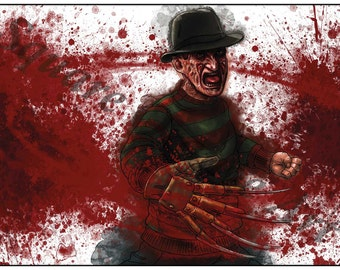 Freddy Krueger Nightmare on Elm Street Inspired A4 Horror Splash Print