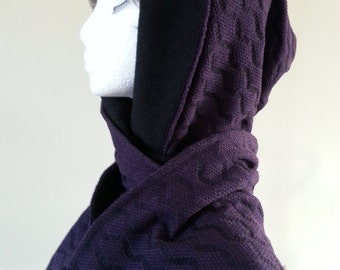 Gothic style scarf. Hooded scarf. Winter hood and scarf. Scoodie. Winter hat. Winter scarf