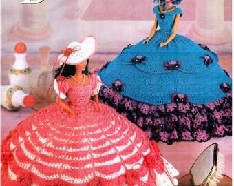 5 Designs! Thread Crochet Plantation Beauties Fashion Doll Dress pattern, fits Barbie dolls. Designs by Judy Schuler, Annie's Attic 878703.