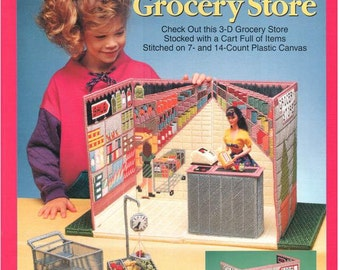 Fashion Doll Carry & Play GROCERY STORE, Plastic canvas pattern travel play set for Barbie, Sandra Miller-Maxfield, Needlecraft Shop 933737