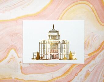 Illustrated Meridian Idaho Temple Gold Foil Art Print