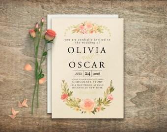 Elegant wedding invitations, Printable wedding invitation, Floral wedding invitation Invitation suite Invitation template DIY wedding BD6008