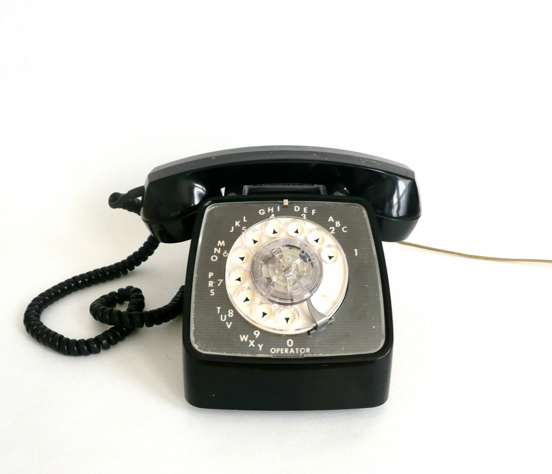 Vintage Black GTE Rotary Dial Telephone