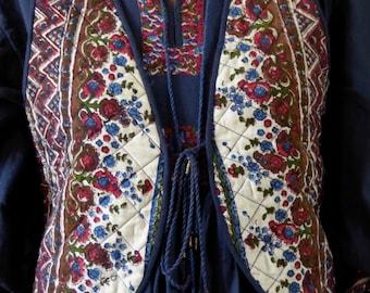 Vintage indian PHOOL waistcoat block print hippie size M india