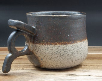 Ceramic Viking mug/Viking cup with stone-like clay & matte black/brown glaze; Handmade pottery; Medieval pottery; Stoneware; Unique