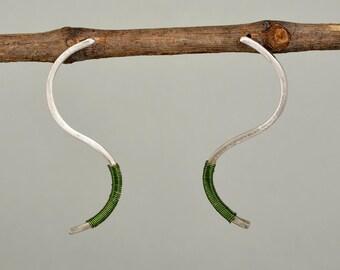Sterling silver long studs, minimal earrings, green wire earring, simple posts, wavy earrings, women jewelry, curvy bar studs, stick studs