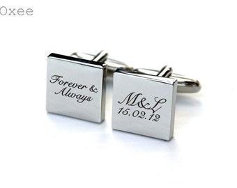 Stainless steel cuff links, engraved cufflinks, personalized metal cuff links, groom cuff links, forever and always