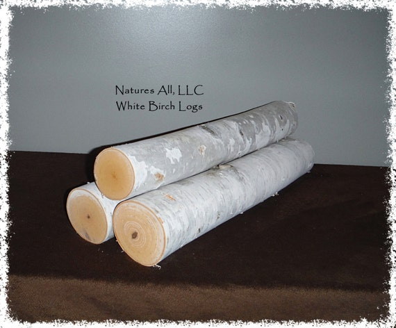 "White Birch Fireplace Logs/3 PC Set/20"" Lengths/3-4"" Diameters/ Rustic Weddings And Home Décor/Shipping Included: Item# BL-4116"