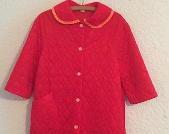 Vintage Red-Orange Quilted Housecoat